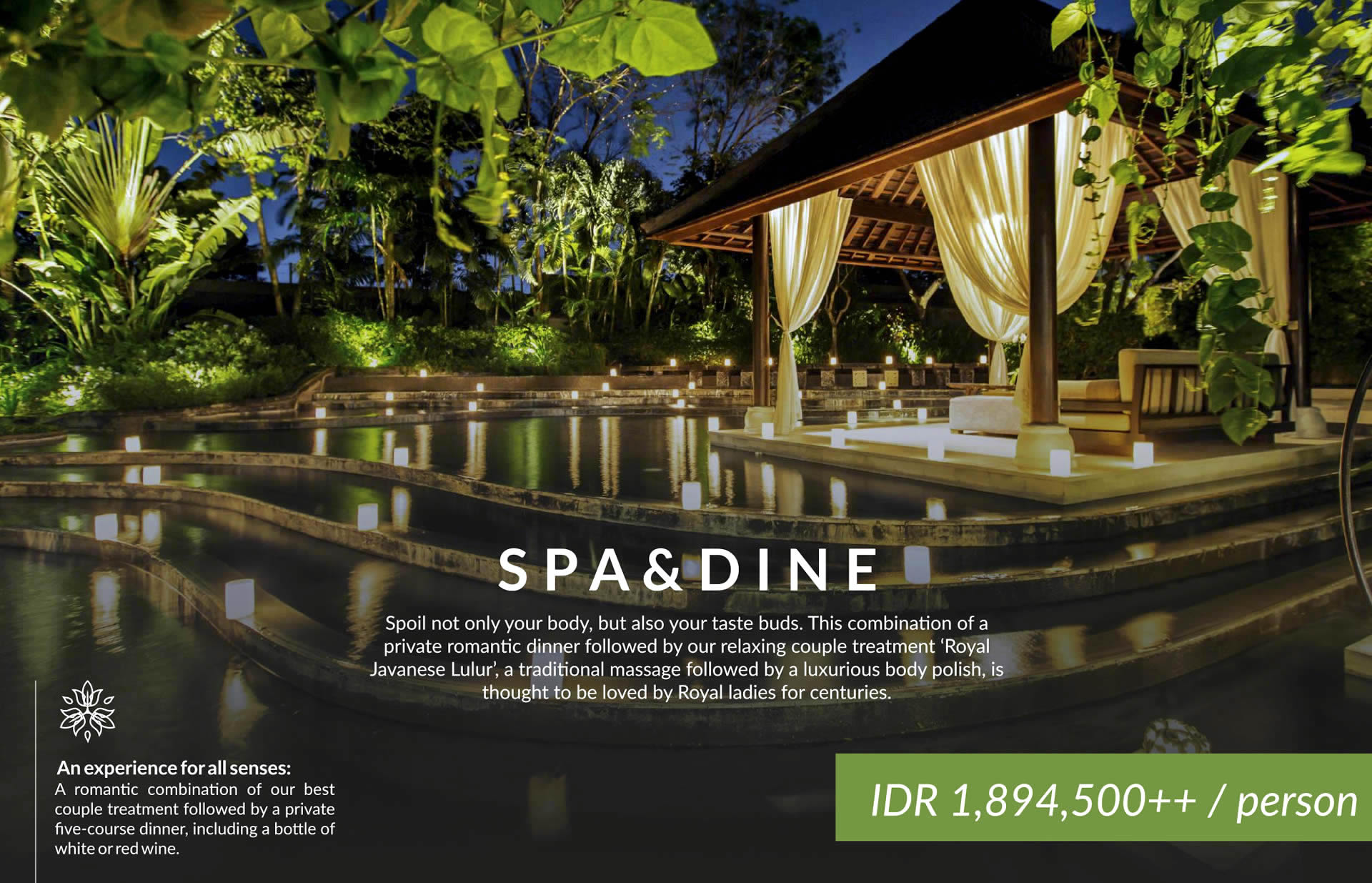 combination of spa and dinner